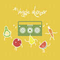 Funny cartoon fruits and vagetables dancing to the music from the boom box. vector illustration