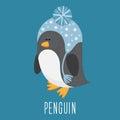 Funny cartoon funny vector penguin. Royalty Free Stock Photo