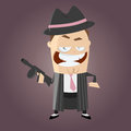 Funny cartoon gangster illustration of a Royalty Free Stock Photo