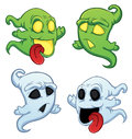 Funny cartoon ghost on the white background Stock Photos