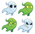Funny cartoon ghost on the white background four Stock Images