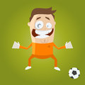 Funny cartoon goalkeeper illustration of a Stock Images