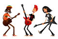 Funny cartoon guys with guitars playing and singing Royalty Free Stock Photography
