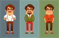 Funny cartoon guys in hipster fashion men style Stock Photo