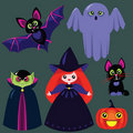 Funny cartoon halloween set Royalty Free Stock Photo
