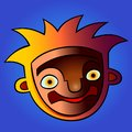 Funny cartoon head. vector colorful illustration with gradients