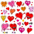 Funny cartoon hearts.