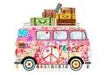 Funny cartoon hippie bus