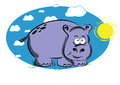 Funny cartoon hippo on a blue background with sun and white clouds Royalty Free Stock Images