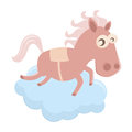 Funny cartoon horse illustration of a on a cloud Royalty Free Stock Images