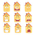 Funny cartoon humanized house with with many expressions set of vector Illustrations