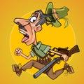 Funny cartoon hunter with gun runs away in fright