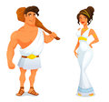 Funny cartoon illustration from greek history an ancient hero hercules and a beautiful goddess Stock Photography