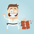 Funny cartoon karate man hitting bricks illustration of a Stock Photos