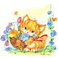 Funny cartoon kitten and flowers. watercolor illustration Royalty Free Stock Photo
