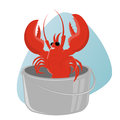 Funny cartoon lobster in pot illustration of a Stock Photography