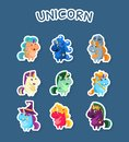 Funny Cartoon Magic Unicorns Stickers Set, Fashion Patch Badges with Cute Fantasy Animals on Blue Bacground Vector