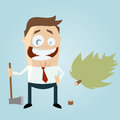 Funny cartoon man with felled tree illustration of a Royalty Free Stock Photography