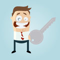 Funny cartoon man with a key illustration of Stock Images
