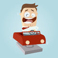 Funny cartoon man in kiddy ride illustration of a Stock Photos