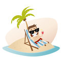 Funny cartoon man with lounger on an island Royalty Free Stock Photo