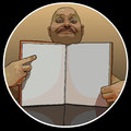 Funny cartoon man pointing his finger at the blank page of the book