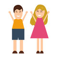 Funny cartoon man and woman
