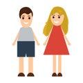 Funny cartoon man and woman