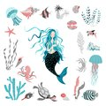 Funny cartoon mermaid surrounded by tropical fish, animal, seaweed and corals. Fairy tale character. Sea life.