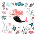 Funny cartoon mermaid surrounded by tropical fish, animal, seaweed and corals. Sea life.