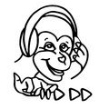 A funny cartoon monkey is listening to music on headphones. Royalty Free Stock Photo