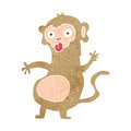 Funny cartoon monkey retro with texture isolated on white Stock Images