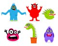 Funny cartoon monsters in vector format isolated on white background Royalty Free Stock Images