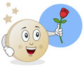 Funny cartoon moon character rose his hand Royalty Free Stock Photography