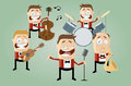 Funny cartoon music band illustration of a Royalty Free Stock Images