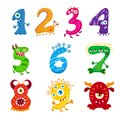 Funny cartoon numbers monster set. Collection isolated fantasy numerals for kids learning counting or mathematics.