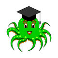 A funny cartoon octopus in a magister cap vector art illustration on white background Royalty Free Stock Image