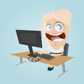 Funny cartoon office woman illustration of a Royalty Free Stock Image