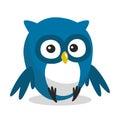 Funny cartoon owl blue with big eyes Royalty Free Stock Image
