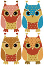 Funny cartoon owls the color illusration Stock Photos