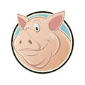 Funny cartoon pig in a sign illustration of Stock Photo