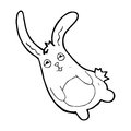 Funny cartoon rabbit black and white line in retro style vector available Royalty Free Stock Images