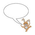 A funny cartoon rabbit with a speech bubble vector art illustration on white background Stock Image