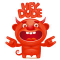 Funny cartoon red little devil emoji character with hey dude title Royalty Free Stock Photo