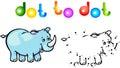 Funny cartoon rhino dot to dot vector illustration for child Royalty Free Stock Photography