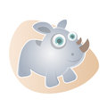 Funny cartoon rhino illustration of a Stock Images