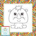Funny cartoon rhino vector illustration for children coloring book for kids Royalty Free Stock Photo