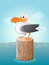 Funny cartoon seagull Royalty Free Stock Photo