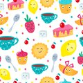 Funny cartoon seamless pattern with sweets and tea cup with faces and emotions for kids. Cute mugs and cakes emojis with