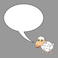 A funny cartoon sheep with a talking bubble vector art illustration on grey background Royalty Free Stock Image